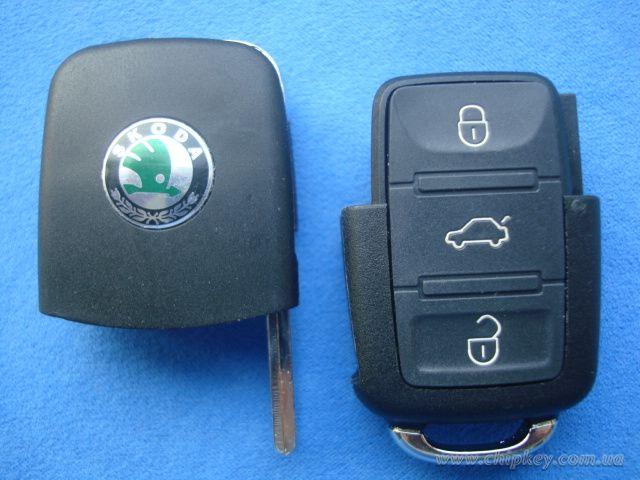 SKODA выкидной ключ 3 - кнопки с микросхемой 1JO 959 753 DE - 315 Mhz, с ID48 MEGAMOS чипом...